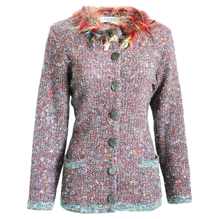 840607f7913 Yves Saint Laurent Knit Cardigan with Feather Collar Rare 90s YSL Runway 38  For Sale