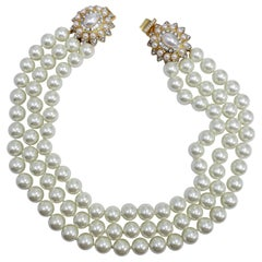 KJL Kenneth Jay Lane Three Strand Faux Pearl Necklace, Clear Crystal Clasp