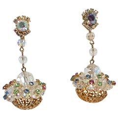 1950s Hattie Carnegie Rhinestone Chandelier Earrings