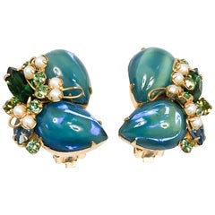 1960s Alice Caviness Blue/Green Clip-on Earrings