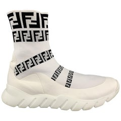 FENDI Size 10.5 White Logo Polyamide Pull On Sneakers