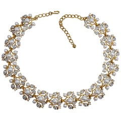 KJL Kenneth Jay Lane Floral Gold Crystal and Faux Pearl Leaf Link Necklace