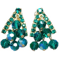 Green Dangling Cluster Crystal Clip on Earrings in Gold, 1900s