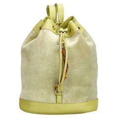 Gucci Green Suede Leather Bamboo Drawstring Backpack Italy