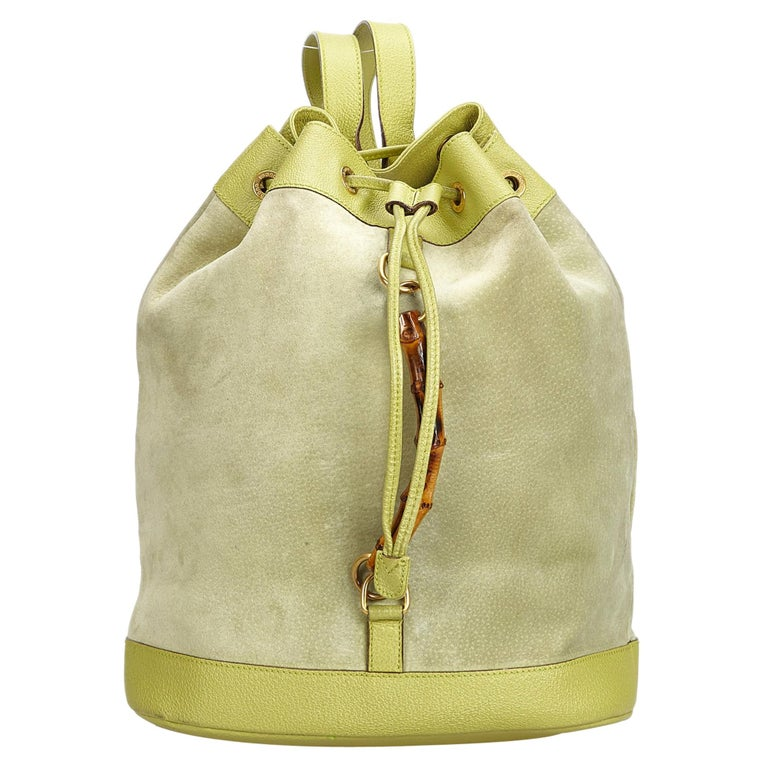 2f7ba2be8849 Gucci Green Suede Leather Bamboo Drawstring Backpack Italy For Sale ...
