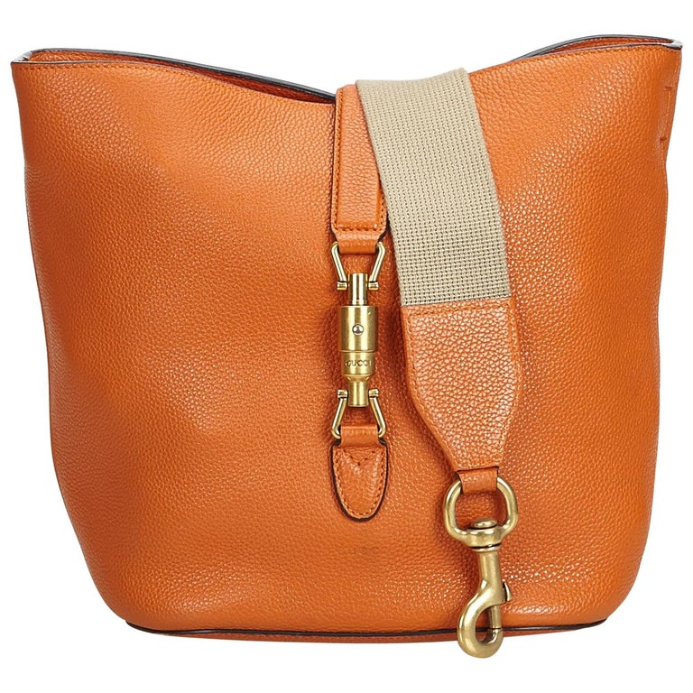 69927c1c98bc Gucci Orange Leather New Jackie Bucket Bag Italy w/ Dust Bag at 1stdibs