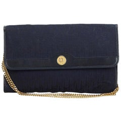 Dior Black Jacquard Fabric Oblique Chain Shoulder Bag France