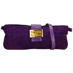 Fendi Purple Suede Leather Crossbody Bag Italy w/ Dust Bag