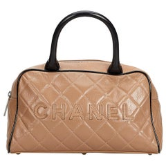 Chanel Brown Light Brown Leather Matelasse Quilted Handbag Italy w/ Dust Bag