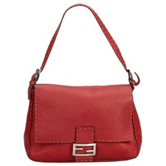 Fendi Red  Leather Selleria Mamma Forever Italy w/ Dust Bag