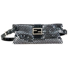 Fendi Black Nylon Fabric Sequined Belt Bag Italy