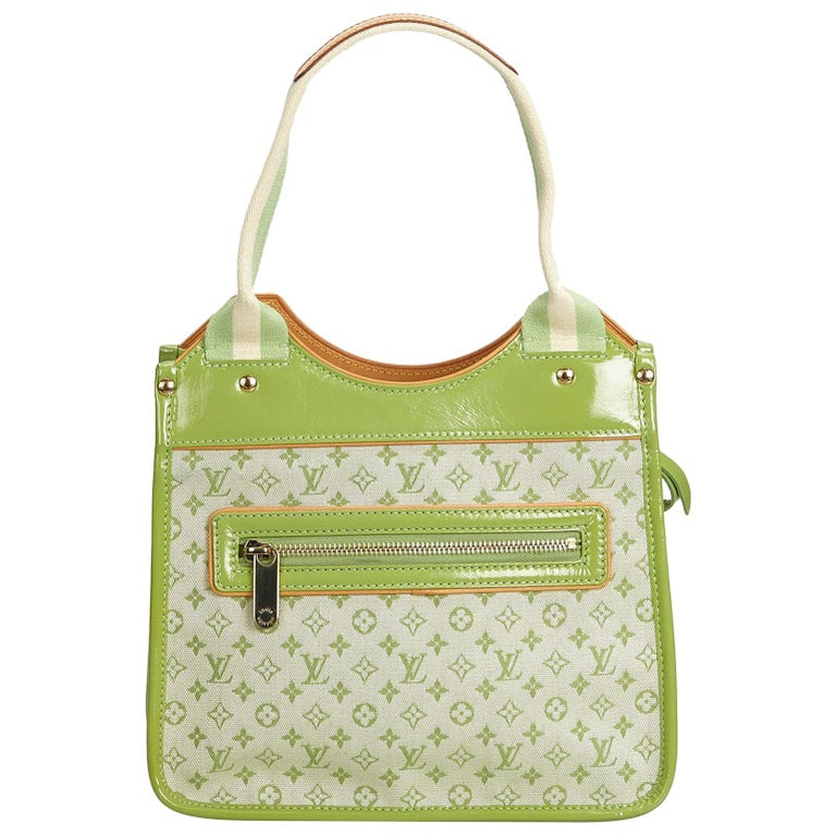 1dac0768b Louis Vuitton Green Cotton Fabric Monogram Mini Lin Sac Kathleen France For  Sale