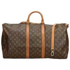 Louis Vuitton Brown Monogram Keepall Bandouliere 55 France