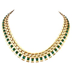 20th Century Gold Plate & Emerald Austrian Crystal Link Choker Style Necklace