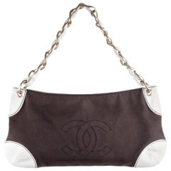 Chanel Brown Canvas White Leather Shoulder Bag Purse Tote CC Logo