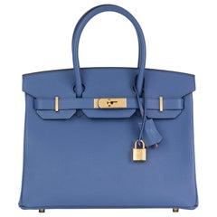 2019 Hermès Bleu Brighton Epsom Leather Birkin 30cm