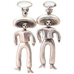 Vintage Mexico Emilia Castillo 950 Silver Dangle Earrings-'Day of Dead Cowboy'