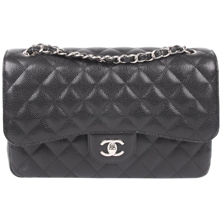 7413350622 Chanel 2.55 Timeless Jumbo Double Flap Bag - black caviar leather/silver  For Sale