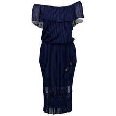 Gucci Dark Blue Knit Dress - Size XS