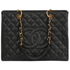 Chanel 2014 Black Quilted Caviar Leather Grand Shopping Tote GST