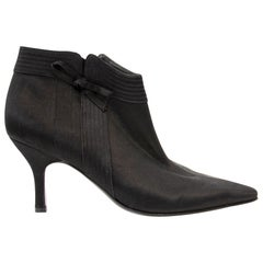 Salvatore Ferragamo Black Satin Ankle Boots - Size 36.5
