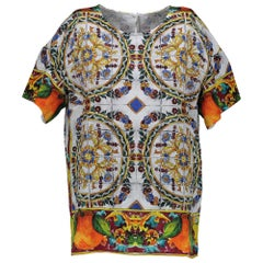 Dolce & Gabbana Short Sleeve Multicolor Blouse - SIZE IT40