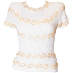 Vintage 1940s Crepe Top with Sequin Detail