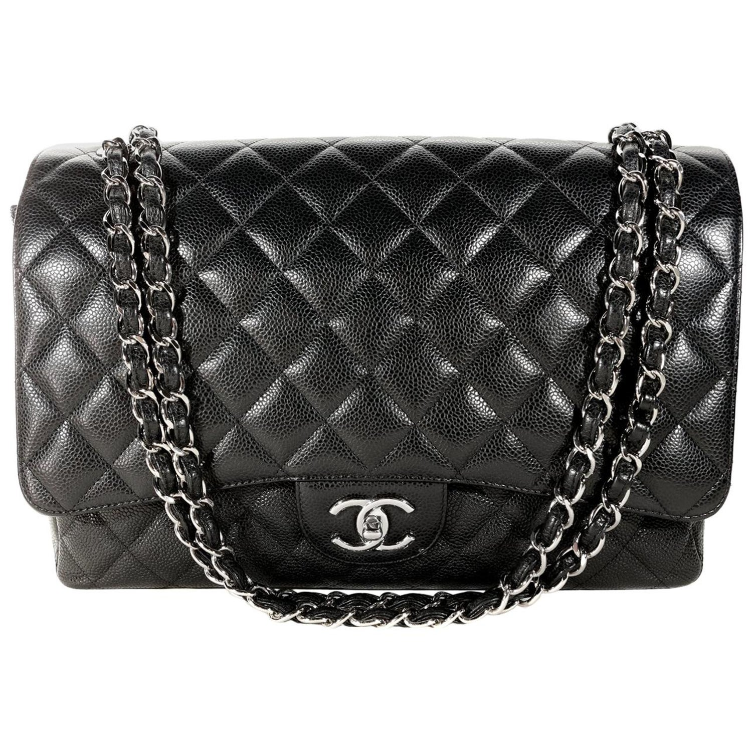 3e012d78f63e Chanel Black Caviar Maxi Double Flap Classic with SHW For Sale at 1stdibs
