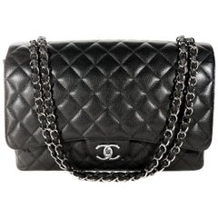 Chanel Black Caviar Maxi Double Flap Classic with SHW