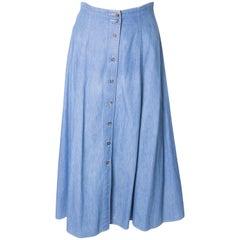 Vintage Button Through Denim Skirt