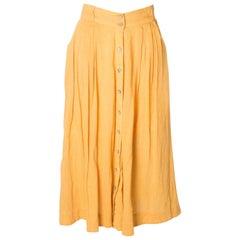 Vintage Orange Button Through Summer Skirt