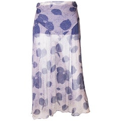 Vintage Blue and Ivory Silk Chiffon Skirt