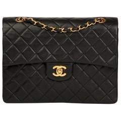1990 Chanel Black Quilted Lambskin Vintage Medium Tall Classic Double Flap Bag
