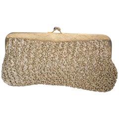 Vintage Gold Raffia Bag