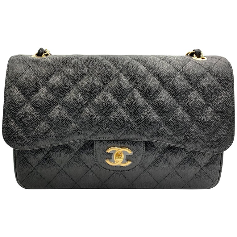 827e57030d4b Chanel Jumbo Black Quilted Caviar Maxi Classic Double Flap Gold Tone Bag  A58600 For Sale