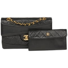 1990 Chanel Black Quilted Lambskin Vintage Classic Single Flap Bag with Wallet