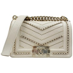 Chanel Crumpled Calfskin Small Boy Bag Ivory 2018 Collection A67085 Y83967 10800
