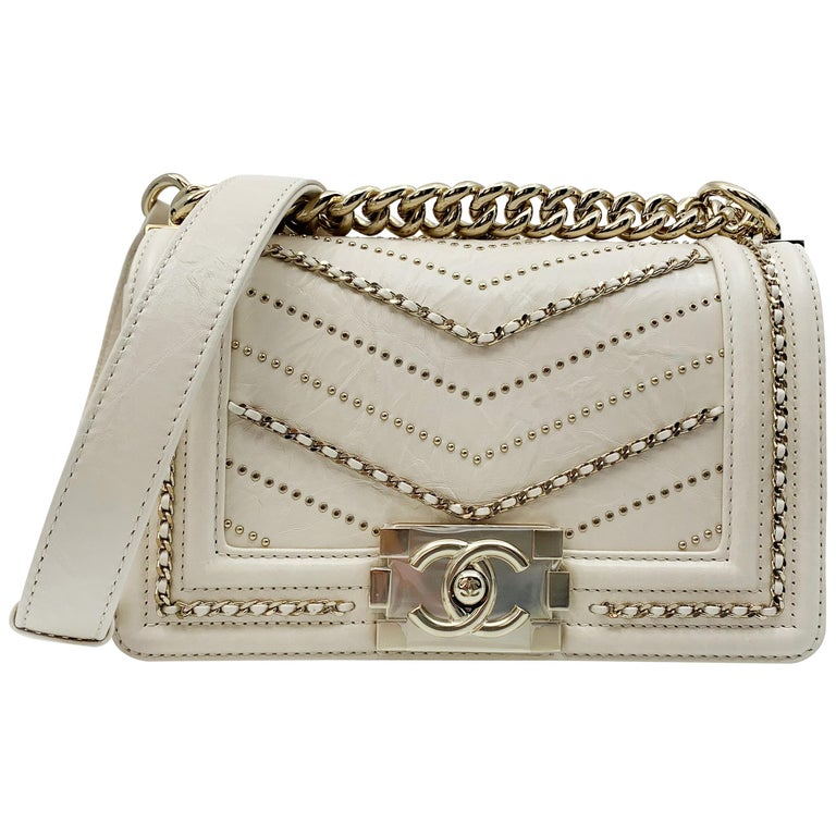0ddfc09ce9aeea Chanel Crumpled Calfskin Small Boy Bag Ivory 2018 Collection A67085 Y83967  10800 For Sale