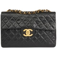 1991 Chanel Black Quilted Lambskin Vintage Maxi Jumbo XL Flap Bag