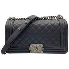 Chanel Boy Ruthenium Finish Medium Black Quilted Leather Bag A67086 Y83338 94305