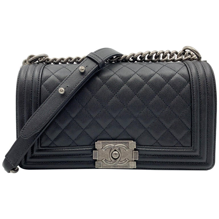 ff6f96a685a85 Chanel Boy Ruthenium Finish Medium Black Quilted Leather Bag A67086 Y83338  94305 For Sale