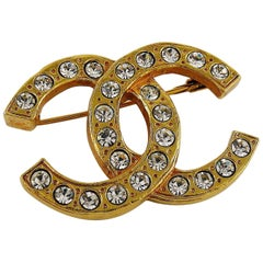 Chanel Vintage Gold Toned Crystal Classic CC Brooch