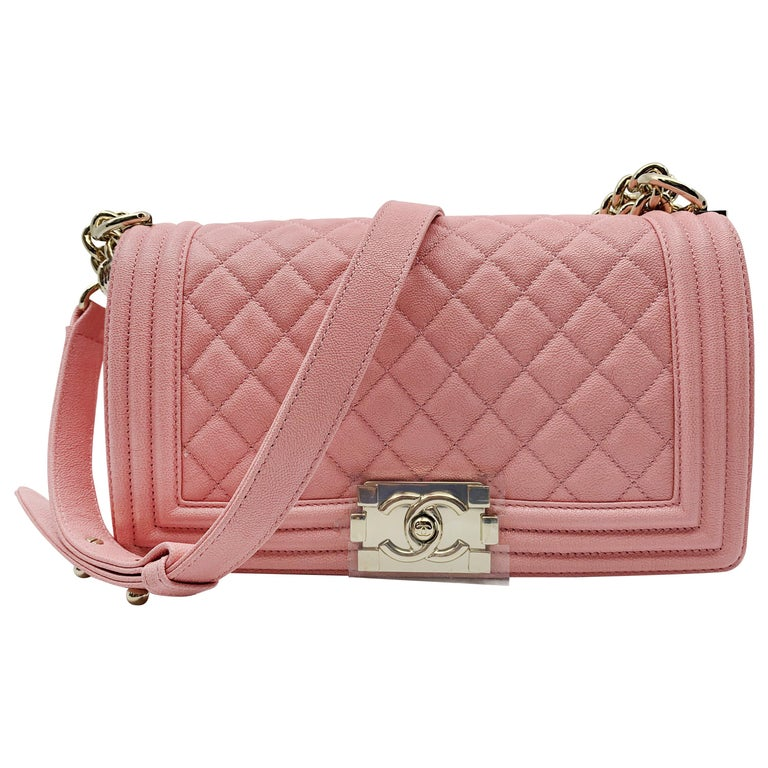 174212e218fd Chanel Boy on Chain Grained Calfskin Gold Tone Pink Bag For Sale at ...