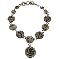 Yves Saint Laurent YSL Vintage Silver Toned Tuareg Inspired Necklace