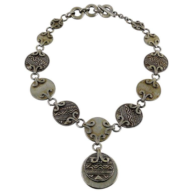 Yves Saint Laurent YSL Vintage Silver Toned Tuareg Inspired Necklace For Sale