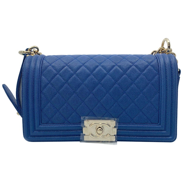 8a1f7b265bed Chanel Boy Gold Tone Chain leather Blue Shoulder Ladies Bag For Sale ...