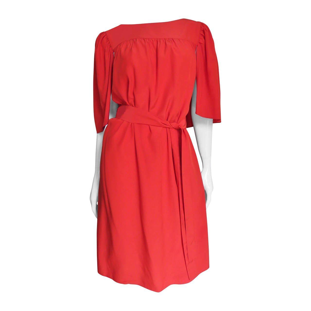 Yves Saint Laurent Silk Caplet Dress