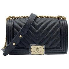Chanel Caviar Chevron Quilted New Medium Boy Flap Black A67086