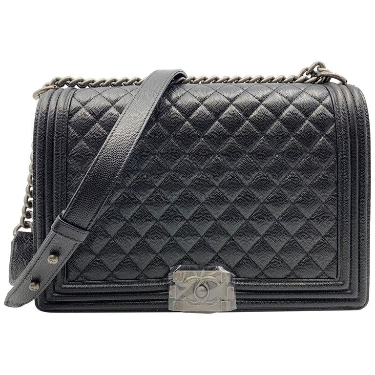 124ed76e34 Chanel Flap Boy Ruthenium Calfskin Black Caviar Shoulder Ladies Bag