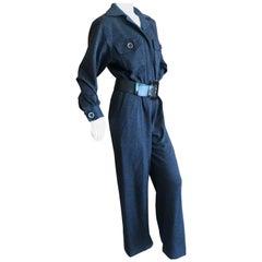 Yves Saint Laurent Rive Gauche 1970's Dark Gray Jersey Jumpsuit